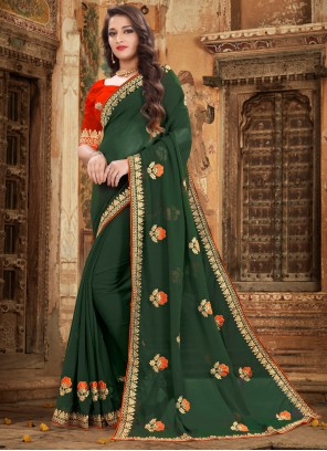 Green Embroidered Georgette Trendy Saree