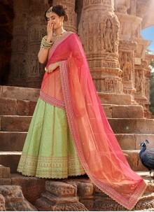 Green Embroidered Handloom silk Bollywood Lehenga Choli