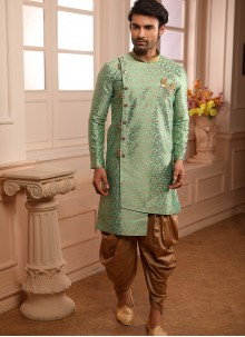 Green Embroidered Indo Western