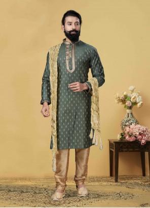 Green Embroidered Jacquard Silk Kurta Pyjama