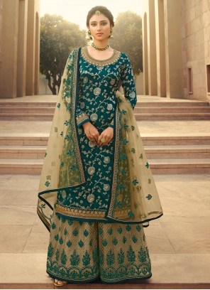 Green Embroidered Jacquard Silk Palazzo Designer Salwar Kameez