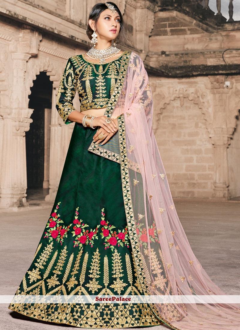 f1b71ce5db Buy Green Embroidered Lehenga Choli Online