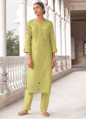 Green Embroidered Linen Designer Kurti