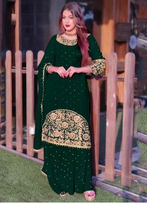 Green Embroidered Long Choli Lehenga