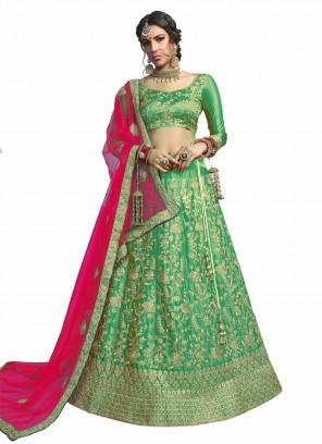 Green Embroidered Mehndi A Line Lehenga Choli