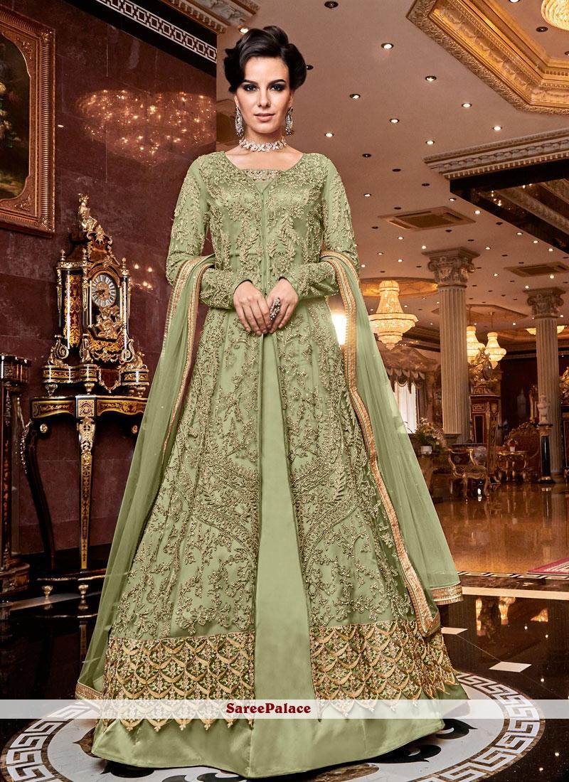 Green Embroidered Net Designer Lehenga Choli