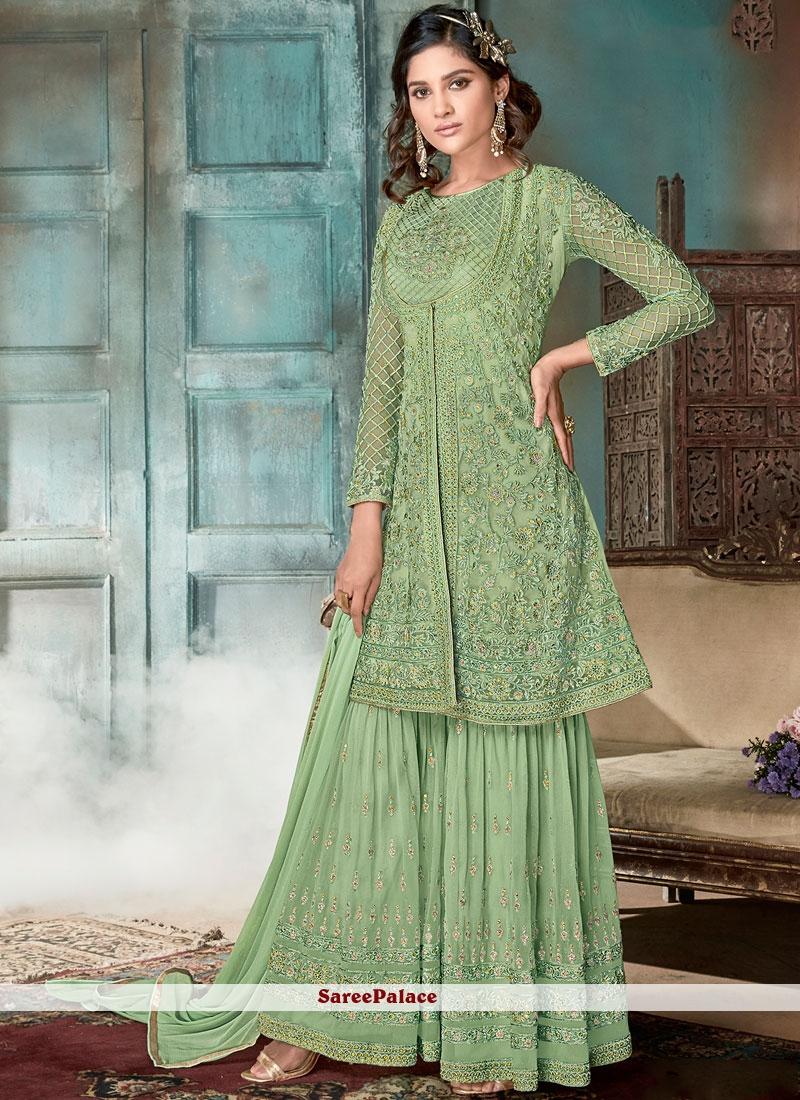 Green Embroidered Net Designer Pakistani Suit