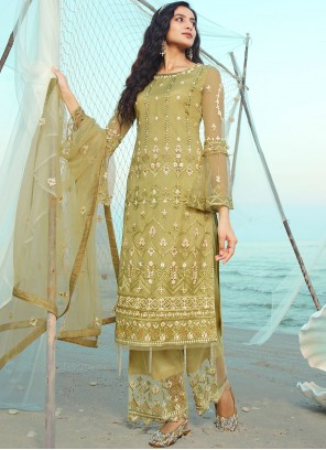 Green Embroidered Net Designer Palazzo Suit
