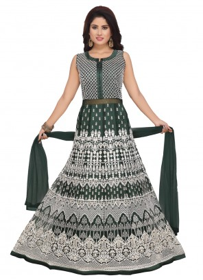 Green Embroidered Net Trendy Anarkali Salwar Suit