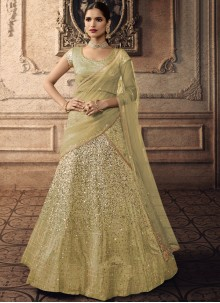 Green Embroidered Party A Line Lehenga Choli