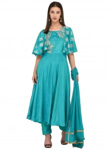 Turquoise Shaded Poly Silk Party Wear Salwar Suit