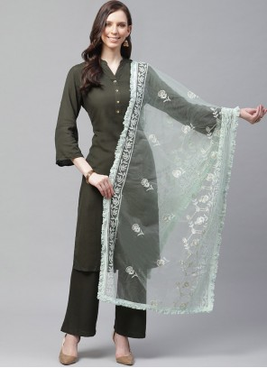 Green Embroidered Party Designer Dupatta
