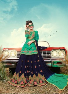 Green Embroidered Party Designer Palazzo Suit