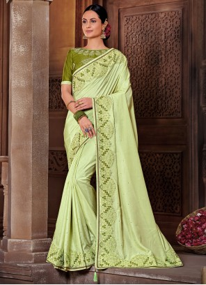 Green Embroidered Poly Silk Classic Designer Saree