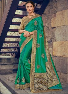 Green Embroidered Poly Silk Designer Saree