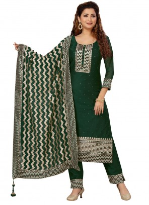Green Embroidered Readymade Salwar Suit