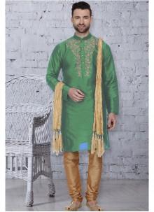 Green Embroidered Sangeet Kurta Pyjama