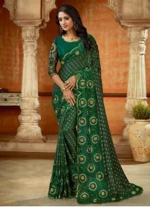 Green Embroidered Satin Designer Saree