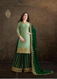 Green Embroidered Satin Salwar Suit