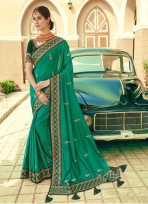 Green Embroidered Silk Bollywood Saree