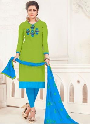 Green Embroidered Silk Churidar Salwar Kameez