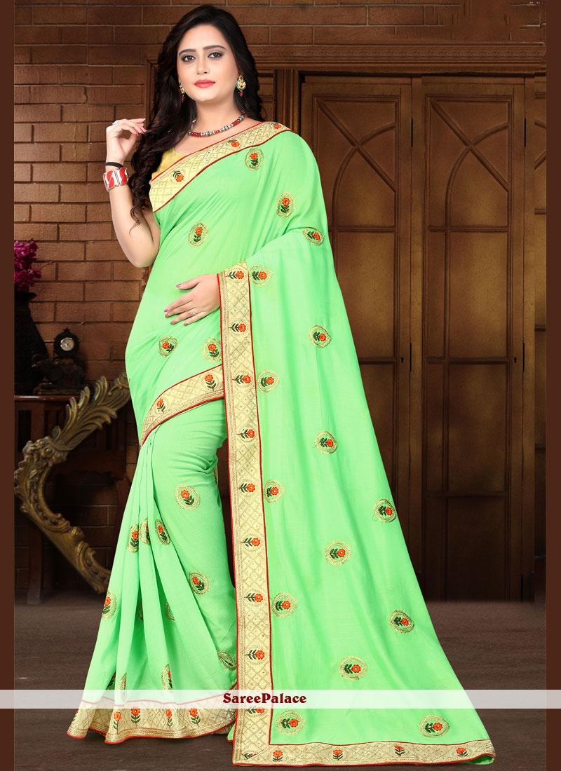 Green Embroidered Silk Classic Saree