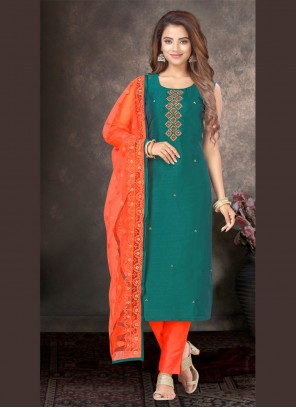 Green Embroidered Silk Designer Salwar Kameez