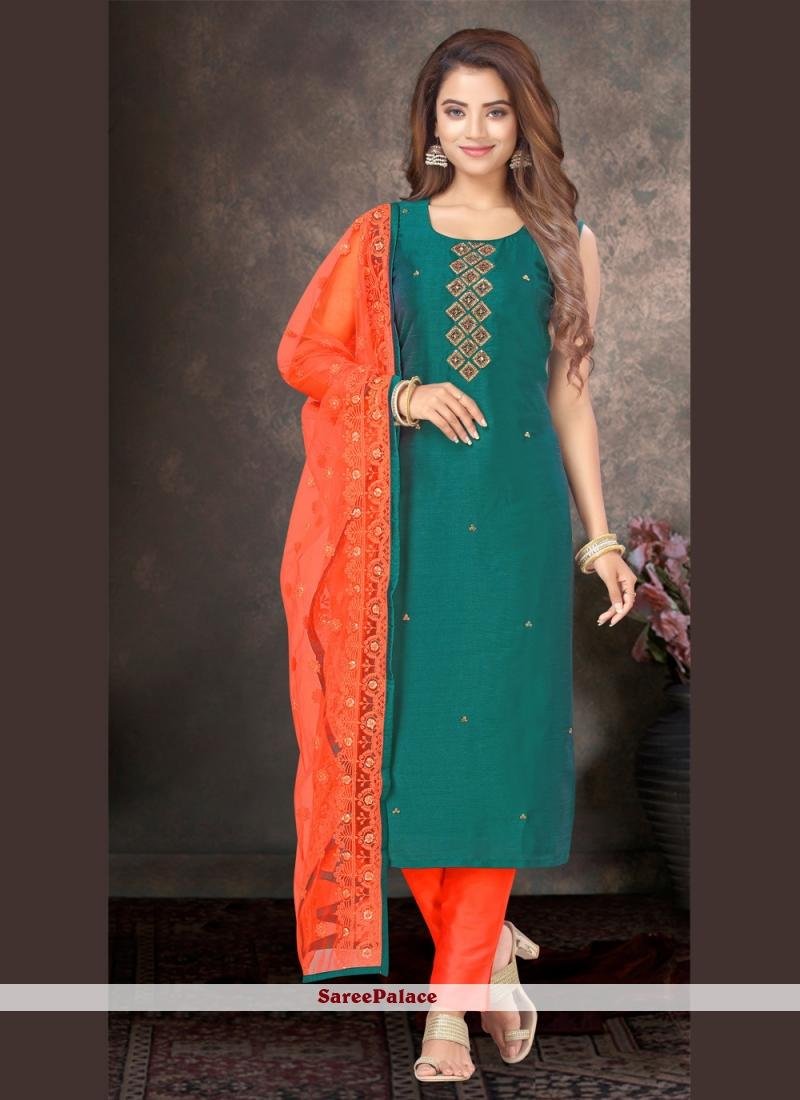 Green Embroidered Silk Designer Salwar Kameez