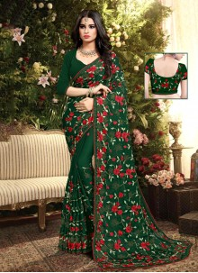 Green Embroidered Silk Designer Saree