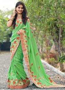 Green Embroidered Silk Designer Traditional Saree