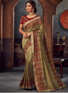 Green Embroidered Silk Saree