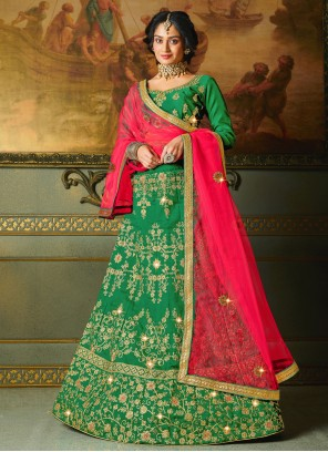 Green Embroidered Silk Trendy Lehenga Choli
