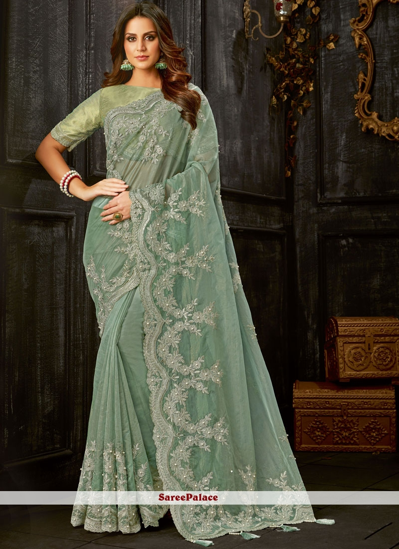 Green Embroidered Tissue Classic Designer Saree