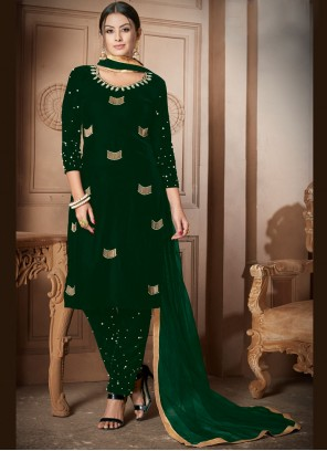 Green Embroidered Velvet Salwar Kameez