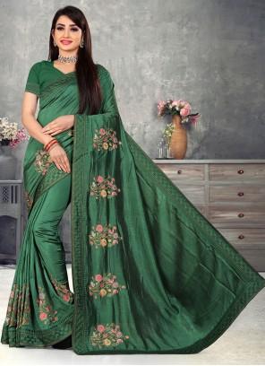 Green Embroidered Vichitra Silk Traditional Designer Saree