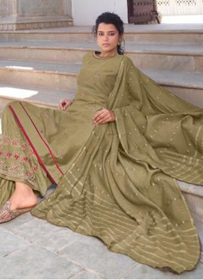 Green Embroidered Viscose Readymade Suit