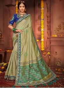 Green Embroidered Wedding Classic Designer Saree