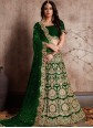 Green Embroidered Work Velvet Lehenga Choli