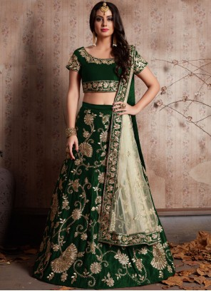 Green Embroidered Work Velvet Lehenga Choli
