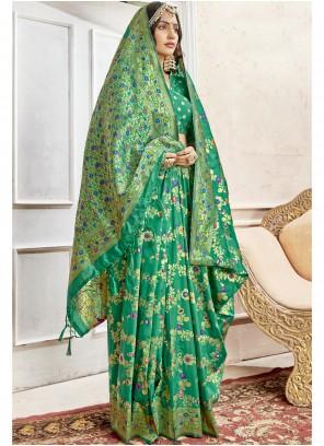 Green Engagement Art Silk Saree