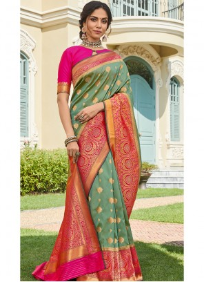 Green Engagement Classic Saree