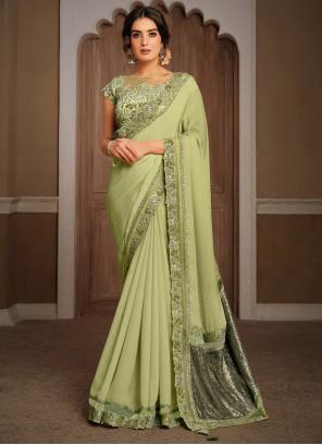 Green Engagement Georgette Classic Designer Saree