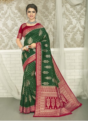 Green Engagement Silk Saree