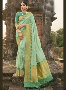 Green Fancy Banarasi Silk Designer Traditional Saree