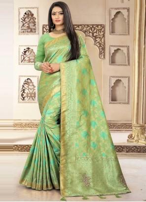 Green Fancy Banarasi Silk Trendy Saree