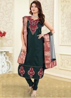 Green Fancy Chanderi Churidar Designer Suit