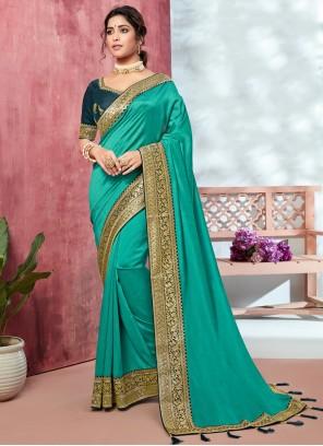 Green Fancy Fabric Bollywood Saree