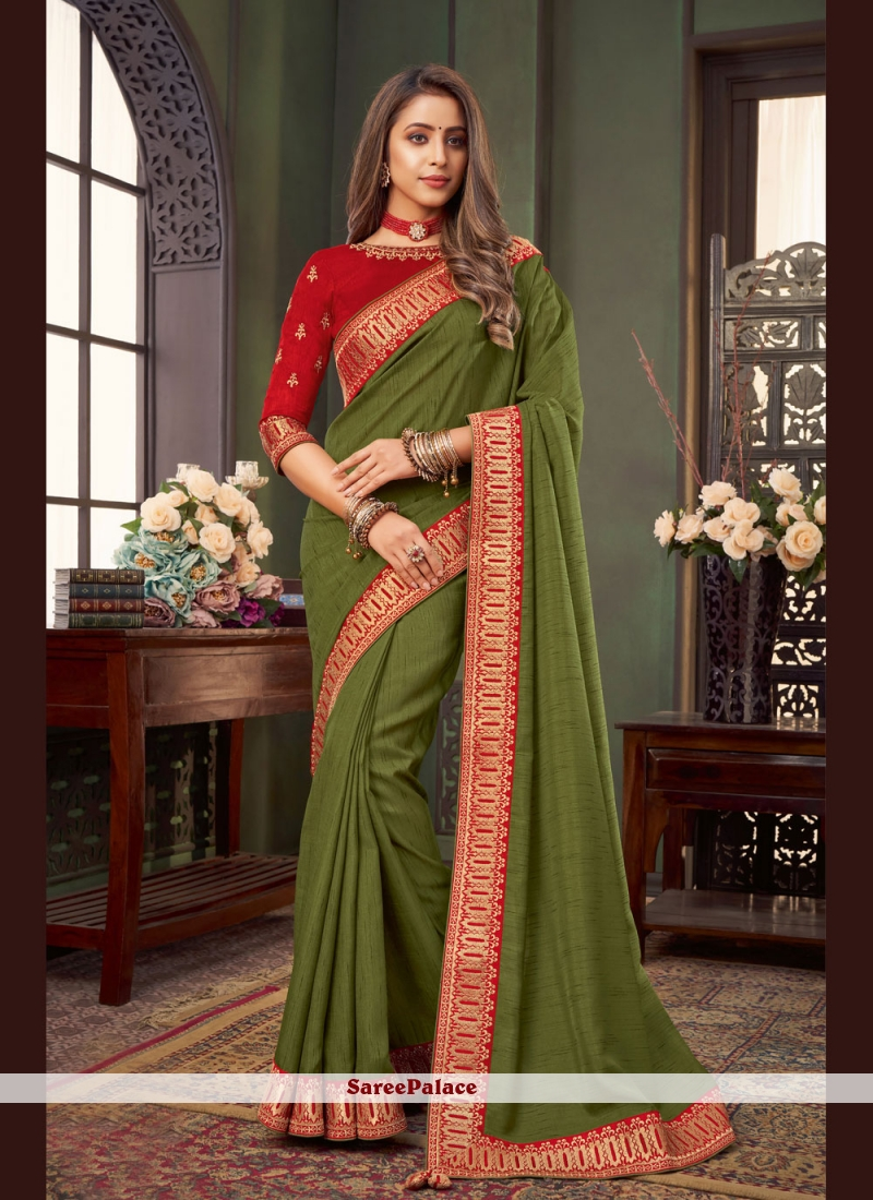 Green Fancy Fabric Classic Designer Saree
