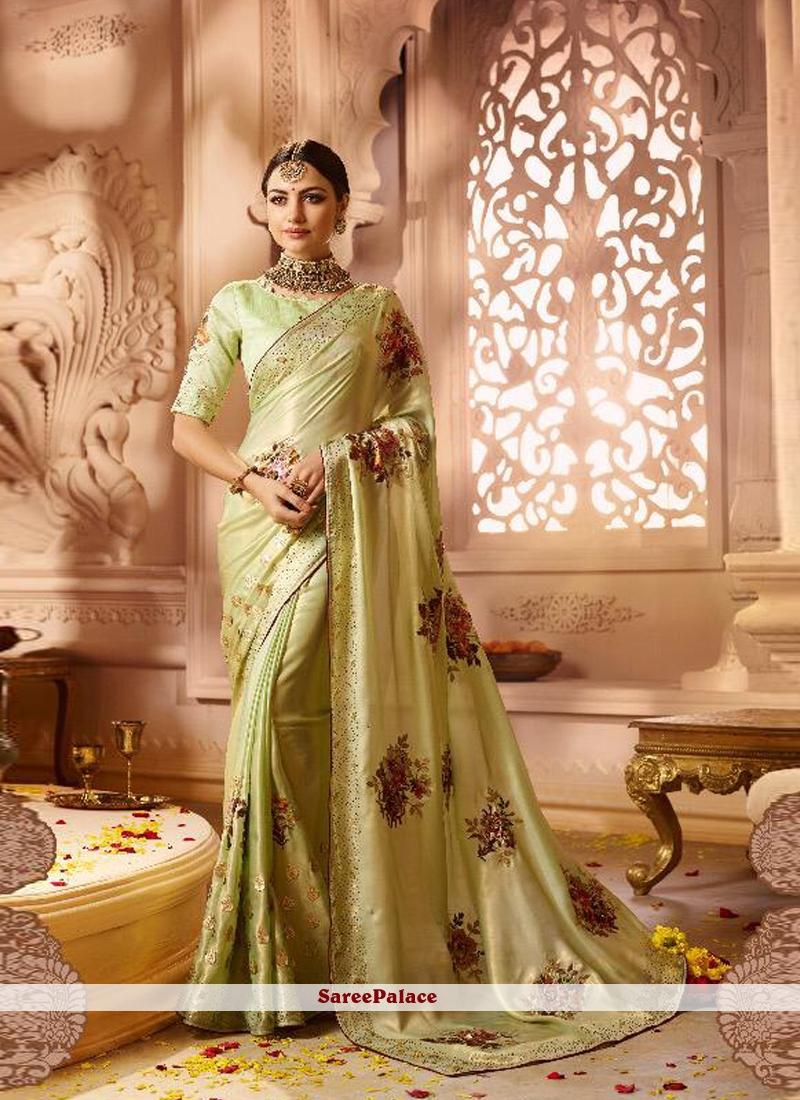 Green Fancy Fabric Classic Saree