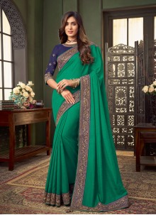 Green Fancy Fabric Festival Classic Saree
